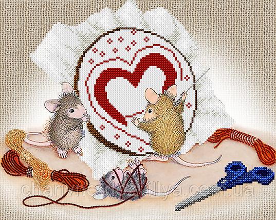 """Схема  для вышивки картины бисером на атласе """"Мышки рукодельницы"""", фото 2"""