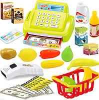 Детский кассовый аппарат супермаркет с продуктами.Свет,звук