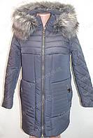 Теплая зимняя женская куртка на замке с капюшоном и меховым воротником темно синяя