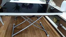 Стол -трансформер Рим-9 (B2219-SP-9 ), цвет стекла черный, окантовка белая, ноги серебро, фото 2