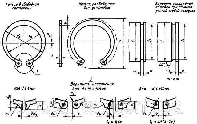 Таблица размеров внутренних стопорных колец