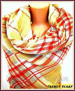 Платок плед женский Клетка.Оранжевый, красный, горчичный, желтый,белый.Шерсть 150\150
