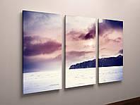 Настенная модульная картина на холсте Морской пейзаж Море Горы 90х60 из 3х частей