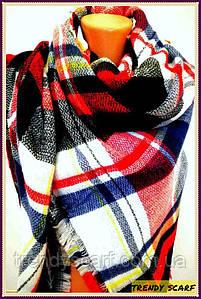 Платок плед женский Клетка.Красный, черный, синий, белый.Шерсть 150\150