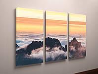 Картина модульная горы туман пейзаж