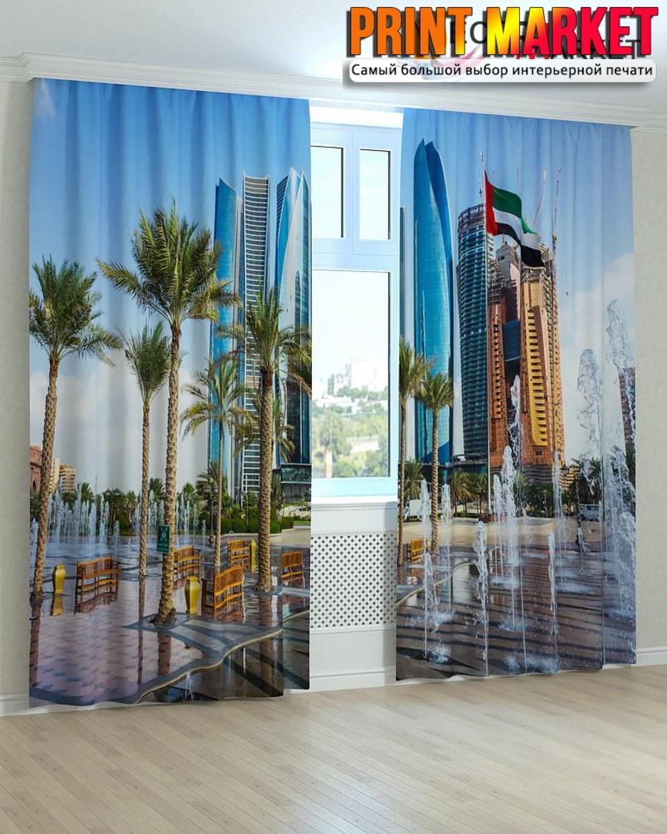 Фотошторы пальмы и небоскребы