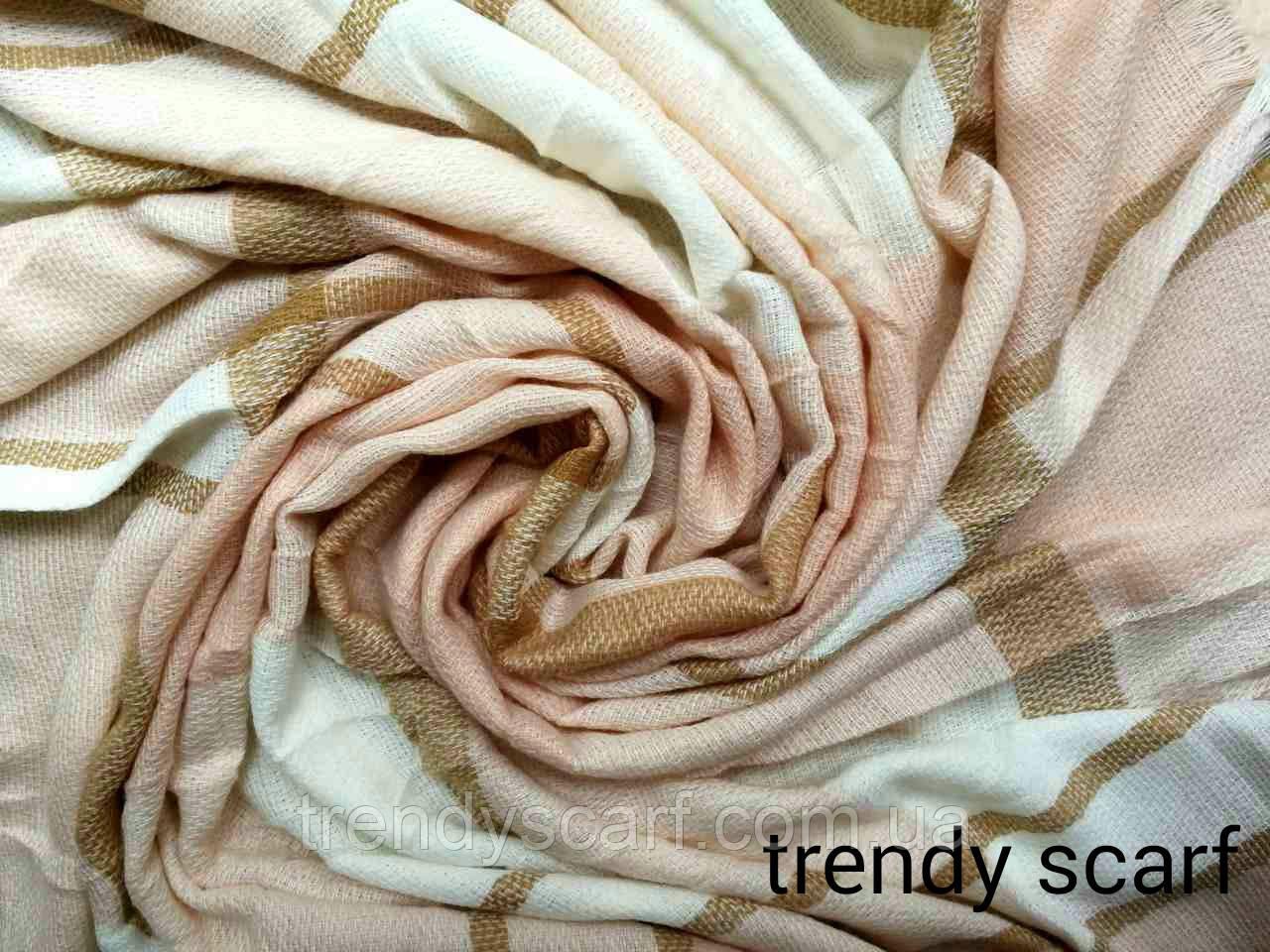 Платок плед женский Клетка.Светло розовый, пудра, бежевый,белый.Шерсть 150\150