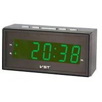 Часы настольные с будильником vst 772t-4, сетевые, говорящие, таймер, секундомер, зеленый цвет цифр, led, фото 1