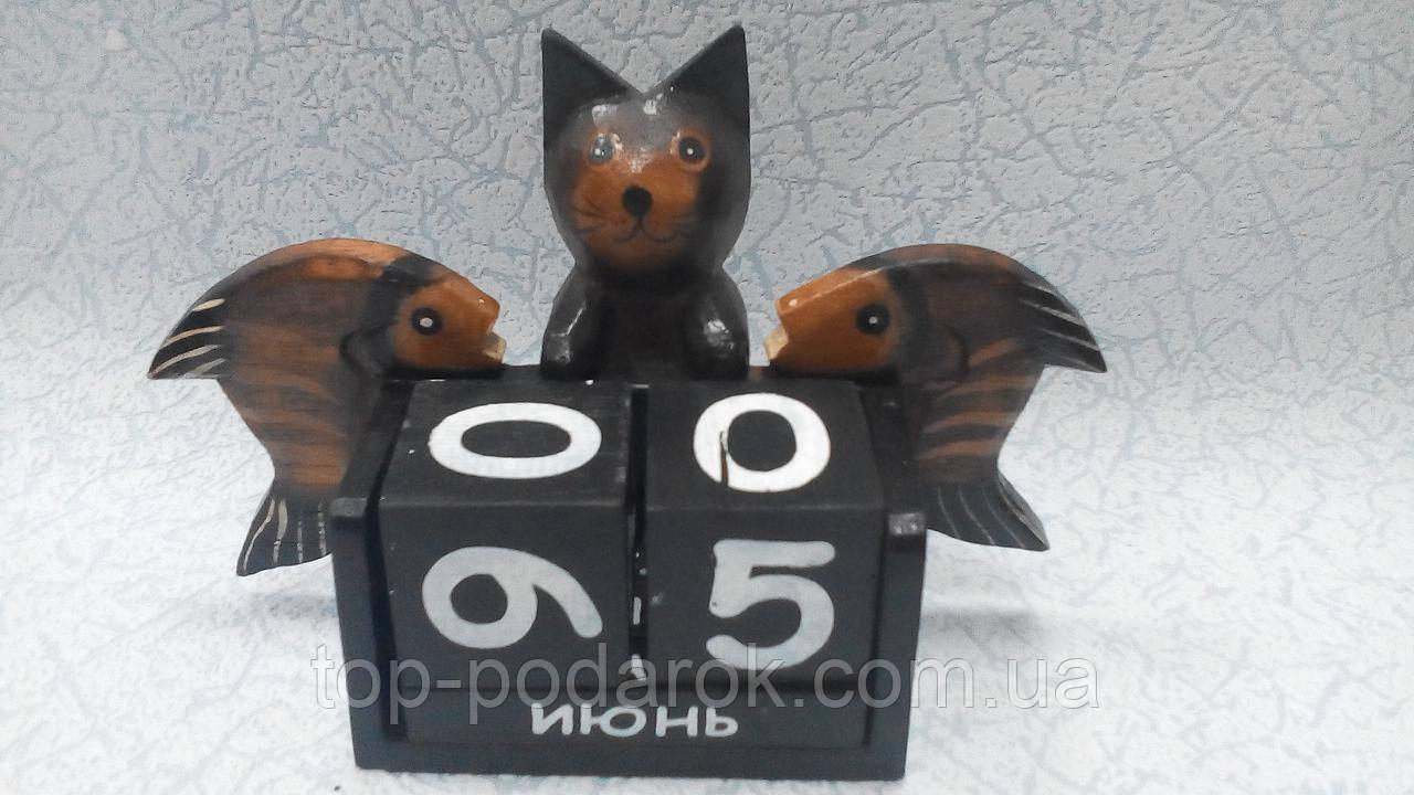 Вечный календарь Кошка с рыбками размер 18*14*8, фото 1
