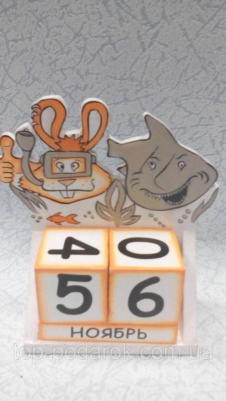 Вечный календарь деревянный  размер 15*13*5, фото 1