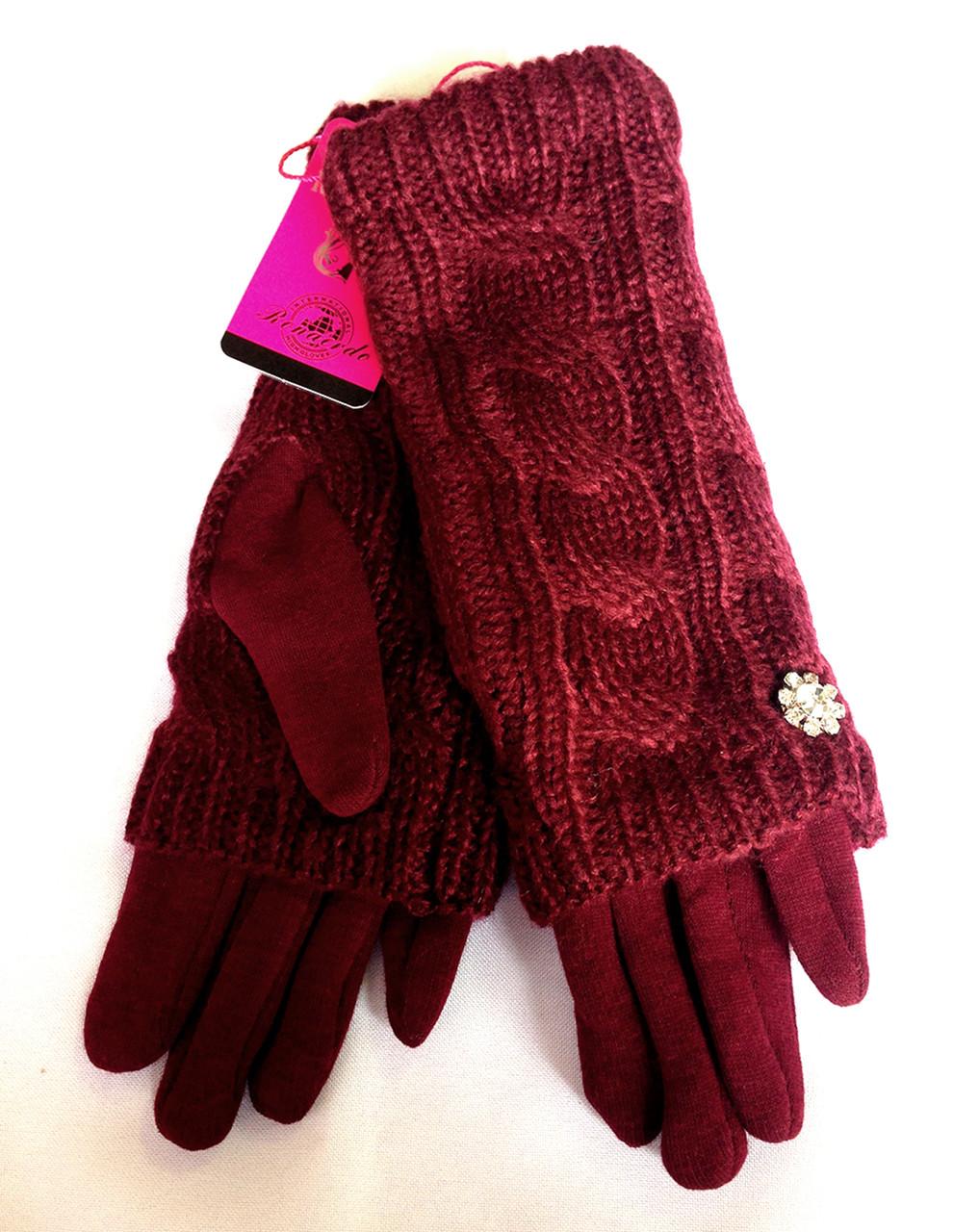 Сенсорные женские перчатки трикотаж, вязка (митенки), бордовые