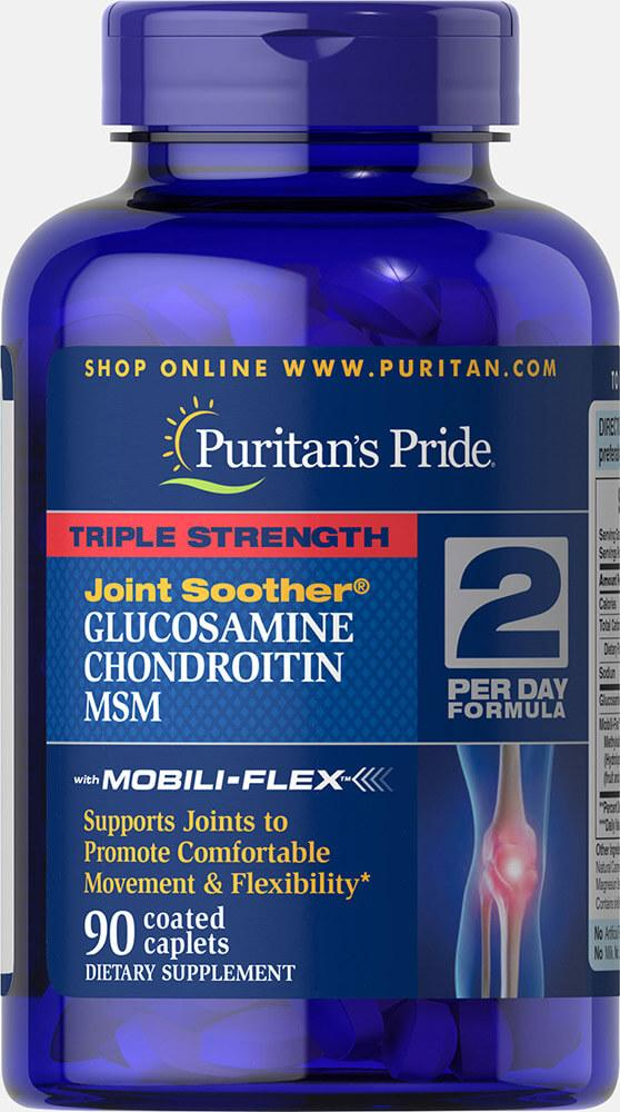 Puritans Pride Triple Strength Glucosamine, Chondroitin & MSM Joint Soother 90 caplets