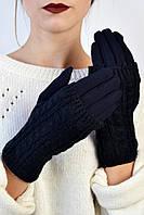 Женские перчатки трикотажные Мидори индиго размер 6,5