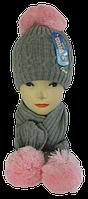 Комплект шапка детская +шарф м 7045, акрил, флис    (В.И.В.)