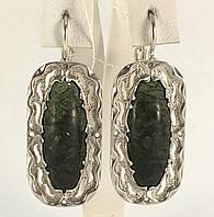 Серьги со змеевиком серебро 925 проба