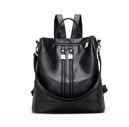 Рюкзак-сумка женский черный под рептилию