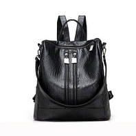 Женский рюкзак-сумка черный под рептилию