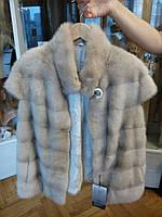 Меховая жилетка из нокри - натуральный мех норка, цвет беж, размер 48-50