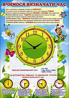 """Плакат """"Вчимося визначати час"""" 480х676 мм."""