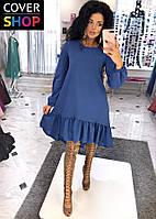 Платье женское с асимметричным низом, материал - креп-сафари, цвет - синий
