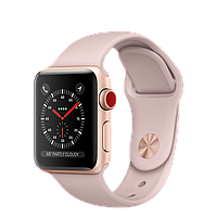 Умные часы Apple Watch 38mm Series 3 GPS + Cellular Gold Aluminium Case with Pink Sand Sport Band (MQJQ2)