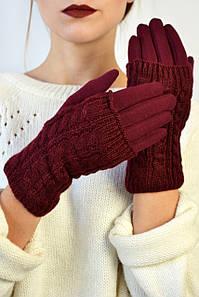 Женские перчатки трикотажные Мидори марсала размер 6,5