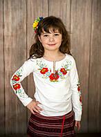 Трикотажная вышиванка для девочки длинный рукав