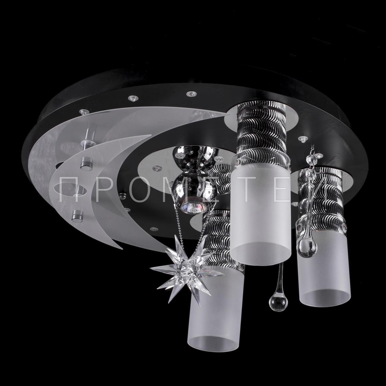 "Люстра ""космос"" с LED подсветкой на пульте управления. P5-S0706/3+1/CH+BK+WT"