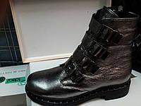 Зимние кожанные женские ботинки цвет платина