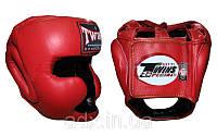 Шлем боксерский с полной защитой Кожа TWINS (красный)