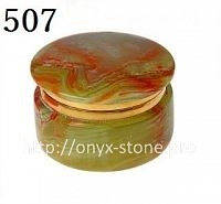Круглая шкатулка из оникса с латунью