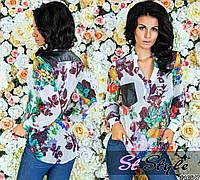 Блуза белая с цветами 23169