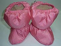 Меховые пинетки розовые точка