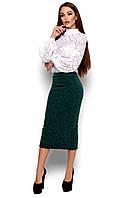 Юбка женская, трикотаж ангора, т/зелёная, размеры 42-48