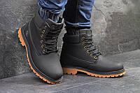 Мужские ботинки Timberland. Нубук Мех 100% Черные с коричневым. Размер 41 42 43 44 45 46