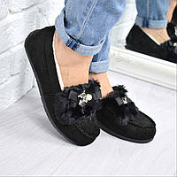 Мокасины женские зимние Lady черные 3703, осенняя обувь
