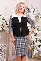 Женское прямое, прилегающее платье Лидия цвет черный размер 52-62 / большие размеры