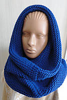 Комплект снуд-шарф объемный женский синий