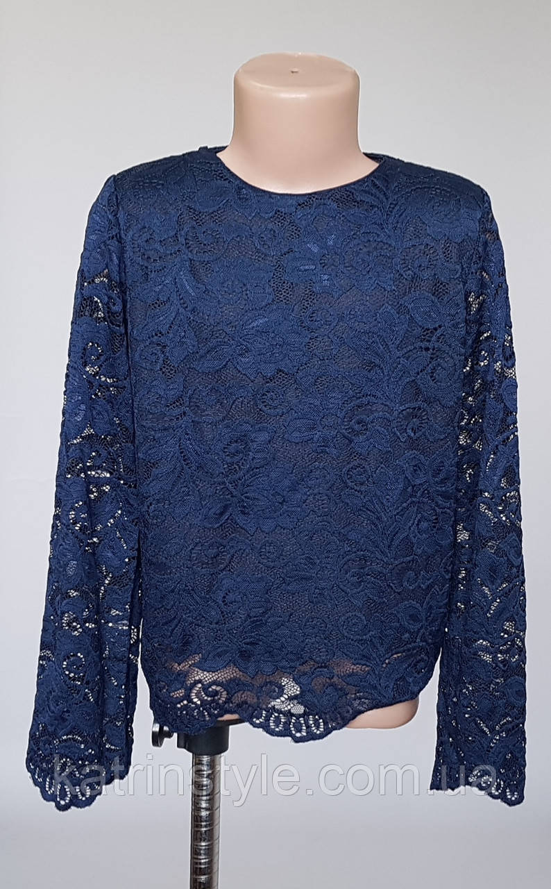 Школьная гипюровая блуза для девочек