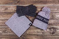Шапка мужская зимняя Pobedov Hat Warmly серая с темно серой вставкой
