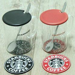 Кружка стеклянная  с крышкой и подставкой Starbucks черный