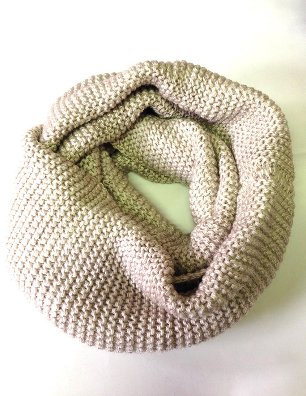 Шарф снуд (хомут), бежево-коричневого цвета
