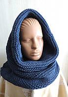 Комплект снуд-шарф объемный женский джинсовый