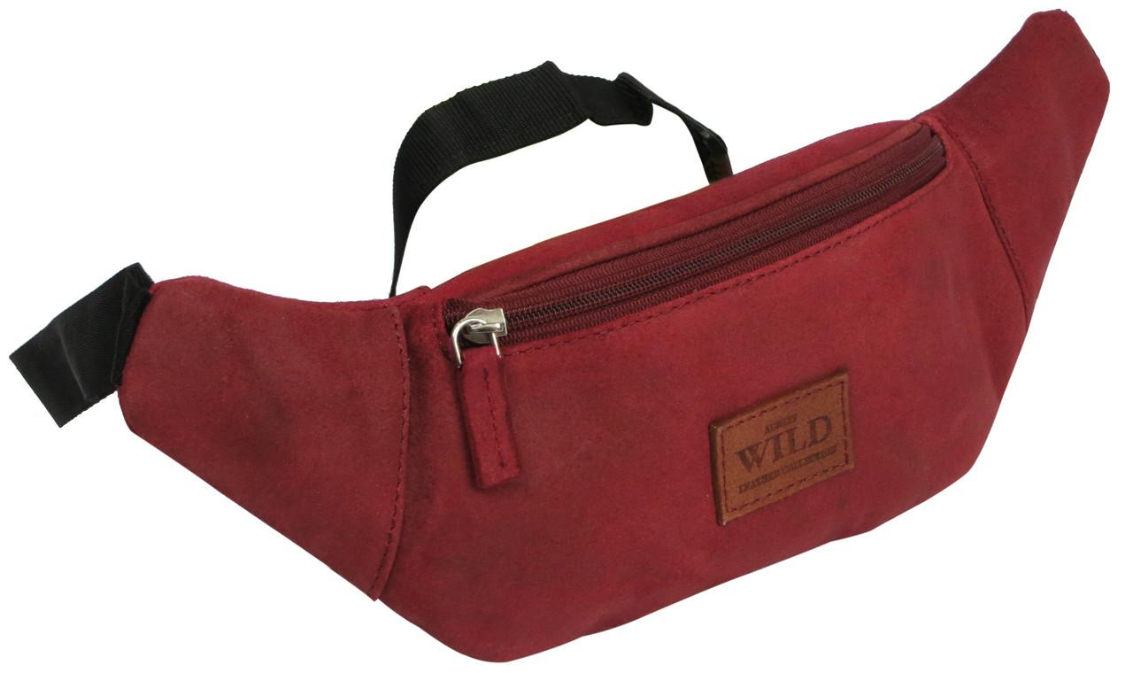 Кожаная сумка сумка на пояс, бананка Always Wild WB-01-18562 красная