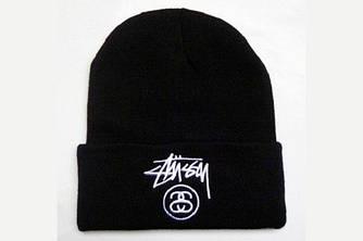 Зимова шапка чорна з логотипом Stussy в стилі унісекс чоловіча жіноча