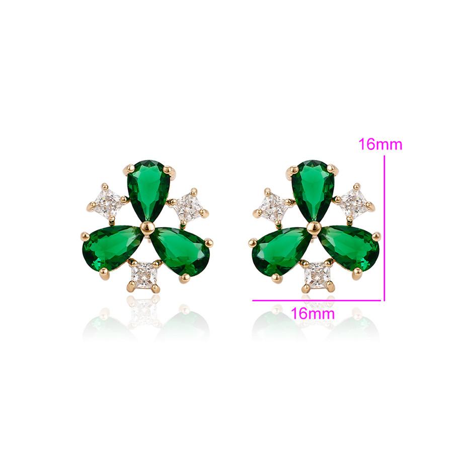 Серьги гвоздики, Цветок с зеленым цирконием, позолота