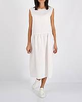 Белое платье миди из 100% льна , фото 1