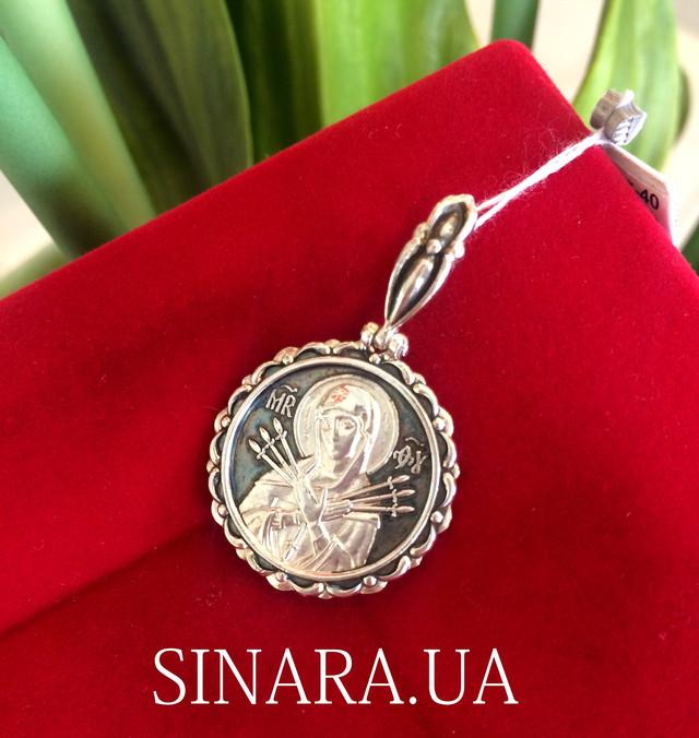 Серебряная ладанка Семистрельная - Иконка Семистрельная Богородица фото 3