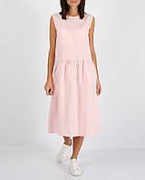 Розовое платье миди из 100% льна , фото 1