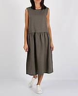 Сіра сукня міді з 100% льону, фото 1